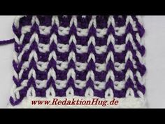Tunisian Crochet - rib pattern Klara, two-color (IN GERMAN - If you are familiar with Tunisian Crochet you can watch this video to learn this stitch. The video is very good. Tunisian Crochet Patterns, Crochet Diagram, Crochet Afghans, Knit Crochet, Afghan Stitch, Crochet Videos, Crochet Projects, Veronika Hug, Knitting