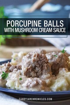 Porcupine Balls with Mushroom Cream Sauce are beef meatballs studded with onion and loaded with spices and then baked in a mushroom cream sauce. via Jar Chronicles Meatball Recipes, Meat Recipes, Dinner Recipes, Cooking Recipes, Dinner Menu, Dinner Ideas, Beef Dishes, Food Dishes, Mushrooms