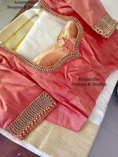 Simple Blouse Designs, Saree Blouse Neck Designs, Stylish Blouse Design, Bridal Blouse Designs, Maggam Work Designs, Designer Blouse Patterns, Blouse Models, Work Blouse, Indian