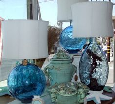 Blown glass lamps.