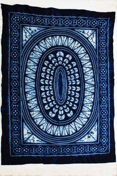 Bai Indigo Shibori Textile with Oval Flora pattern from Yunnan…