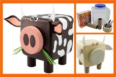 Learn how to make a cow out of common household items.