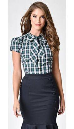 76833ccdf21 Exclusive Retro Style Green Tartan Plaid Cap Sleeve Estelle Blouse Vintage  Closet