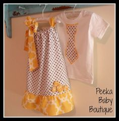Matching Sibling Outfit Set in Grey Polka by PeekaBabyBoutique, $39.00