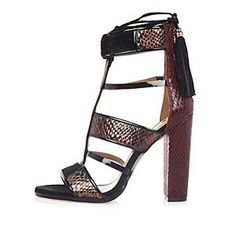 5011543e7ded Dark red caged T-bar block heels Red Block Heels