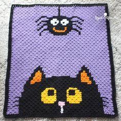 Crochet Halloween C2c Blanket This crochet pattern / tutorial is available for free... Full Post: Halloween C2c Blanket