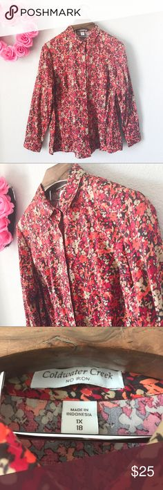 Coldwater Creek Abstract Floral Print Button Down Pre-loved but in good condition! No obvious signs of wear including snags, stains, or tears. (001-0219)    PRODUCT DETAILS: •Size: 1X or 18 •Colors: Red, Orange, Taupe, Salmon Pink, Brown •Made in Indonesia •Measurements: Pit2Pit-23inch Length-29inch •100% Cotton •Machine Wash •Button Up / Down With Collar •Long Sleeve •Abstract Floral Print •Single Button Cuff And Single wrist cuff  •No iron   Tags: summer spring fall shirt blouse top cold…