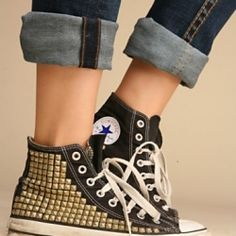 Free People's Studded Vintage Converse High Tops. An edgy makeover for the classic chuck...and already worn in! Doesn't get much better than that.