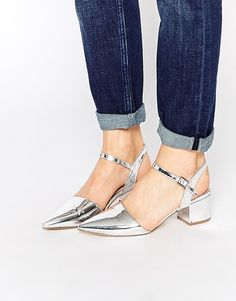 Image 1 ofNew Look Metallic Pointed Mid Heeled Shoes
