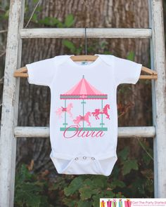 Carousel Birthday Outfit - Novelty Baby Shower Gift or Birthday Party Outfit - Pink Baby Girl Onepiece - Infant Newborn Horse Shirt Bodysuit
