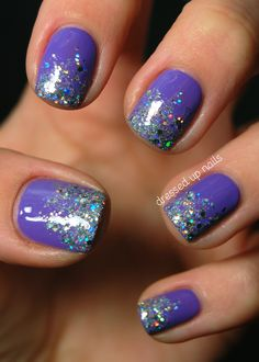 Glitter gel nails, fun nails, pretty nails, purple nails with glitter, purple Fancy Nails, Trendy Nails, Love Nails, How To Do Nails, Gorgeous Nails, Glitter Gel Nails, Diy Nails, Sparkly Nails, Glitter Art
