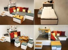 Matroshka living, not that i would want a place that's that small, but this is an awesome solution for cubby holes.