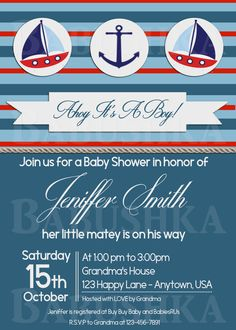 Sailor Themed Baby Shower Invitation/Nautical Baby Shower Invite/ Sailor Boy Baby Shower Invitation by BabushkasPrintables on Etsy