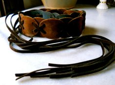 Vintage  Round Suede Linked Belt by BohemianGirlVintage on Etsy, $28.00