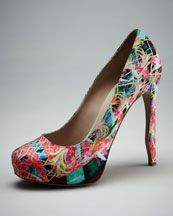 """Nicholas Kirkwood - Bird of Paradise Platform Pump  Artful bird of paradise floral-print satin pump for day or night. Round toe conceals 3/4"""" platform; low-cut vamp. 4"""" covered heel with curved detail; 3.25"""" equiv. Made in Italy."""