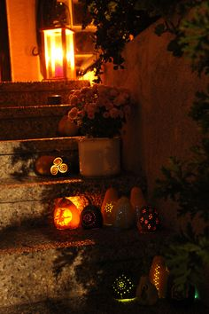 Very beautiful and atmospheric pagan Halloween or Samhain decoration. carved pumpkin