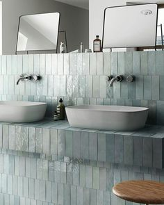 Artesano Aqua Wall tiles are inspired by Arabic zellige materials for its creation. Architectural Styles, Interior Walls, Interior Design Living Room, Brick Style Tiles, Maila, Metro Tiles, Ceramic Wall Tiles, Blue Tiles, Retro
