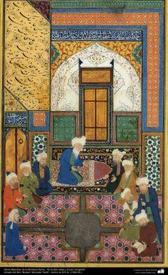 """Miniatura Persa - """"El erudito sabio y el juez arrogante""""- tomado del libro """"Bustan"""" del poeta """"Sa'di"""" - hecho 1562"""