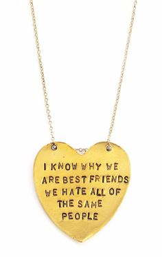 """Our """"I Know Why We Are Best Friends"""" Heart-Shaped Necklace makes a perfect gift for any best friend! 1 hand stamped, heart shaped pendant - Message: """"I Kno Bestfriend Necklaces For 2, Bff Necklaces, Best Friend Necklaces, Best Friend Jewelry, Friend Bracelets, Best Friend Quotes, Best Friend Goals, My Best Friend, Best Friend Things"""