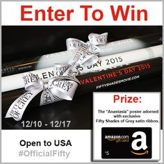 WIN a @FiftyShades poster + $5 Amazon e-gift! #Giveaway #OfficialFifty - via @YourLifeAfter25 - Enter Here: