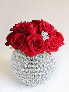 red roses in a crystal bowl are the definition of romantic and elegant
