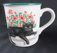 Black-Cat-Kitten-Flowers-Coffee-Mug-Potpourri-Press-Cleopatra-Window-1991-EUC