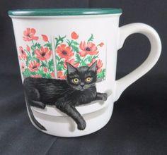 Black-Cat-Kitten-Flowers-Coffee-Mug-Potpourri-Press-Cleopatra-Window-1991-EUC