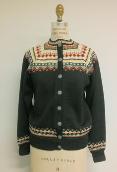 Vintage Ski Sweater Cardigan from Norway Med