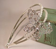 Butterfly themed headband tiara - vintage-inspired - by BridalSkies