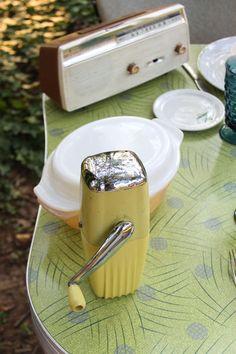 Retro kitchen ware can be fun retro wedding reception decorations: ice-o-matic, fire king kitchen ware, retro radio all fun!