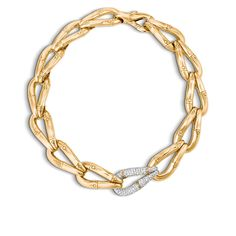 Bamboo Large Station Link Necklace in 18K Gold with Diamond. #JohnHardy