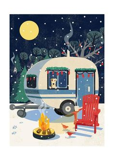 caravan comfort is a vintage Christmas card from Rocket a fashionable retro feel with winter scene connotations. Vintage Christmas cards are the perfect choice for work colleagues, friends and young, trendy companies. Vintage Christmas Cards, Retro Christmas, Christmas Design, Vintage Cards, Illustration Noel, Christmas Illustration, Cosy Christmas, All Things Christmas, Poster Art