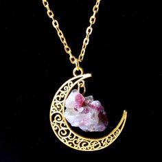 Hzew Sailor Moon Kalung Matahari Dan Bulan Perhiasan 60 cm emas Batu Alam Kristal Amethyst Turmalin Kalung Pendant Untuk Wanita