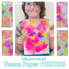 Have you ever printed with tissue paper before? You will love how bright and colourful the results are. Printed Tissue Paper Art is a fantastic process art technique for kids of all ages and such fun to do too!