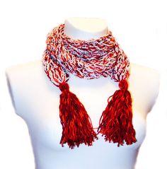Краснобелый воздушный шарф от GGUA на Etsy, $40.00