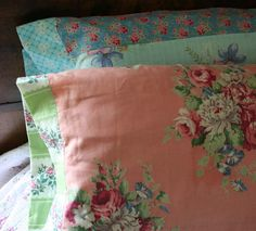 Pillow slips from vintage 40s fabrics.