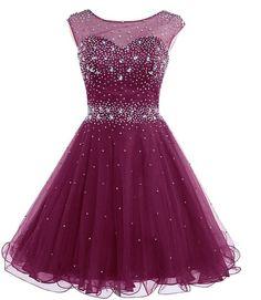 Short Prom Dress ,Beaded homecoming dress P032