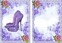 Pretty purple polka dot shoes with roses A5 Insert  on Craftsuprint designed by Nick Bowley - Pretty purple polka dot shoe, with pink roses A5 Insert also matching card, can be seen in other colours - Now available for download!