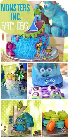"This Monsters Inc. boy birthday party has hats and glasses, macarons, and a ""furry"" cake! See more party ideas at CatchMyParty.com!"
