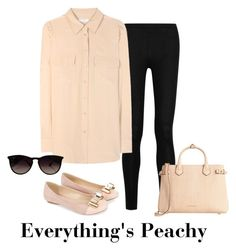 """Everything's peachy"" by kyliecoldren on Polyvore featuring Donna Karan, Equipment, Monsoon, Ray-Ban and Burberry"