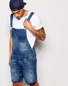 Image 1 of ASOS Short Overalls in Mid Wash