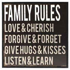Family Rules Framed #Wall #Art