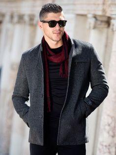 Мъжко зимно палто STYLER - сив