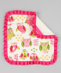 A playful print and ruffled trim warms this blanket up with enough charm to wrap Baby in a sweet, snuggly hug. The soft, comfy feel of this piece will have little darlings reluctant to let their imaginations wander without this new best friend right at their side.16'' x 16''Front: 100% cottonBack: 100% polyester