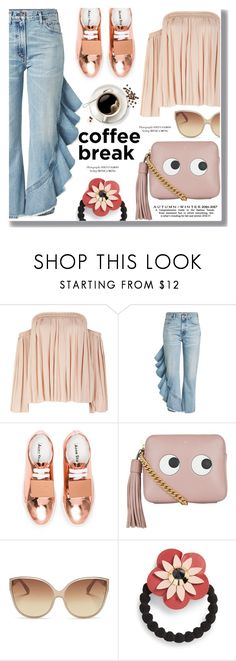 """Coffee Break"" by drigomes ❤ liked on Polyvore featuring Elizabeth and James, Citizens of Humanity, Acne Studios, Anya Hindmarch, Linda Farrow and Cara"