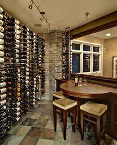 Home wine storage in basement. Great idea!