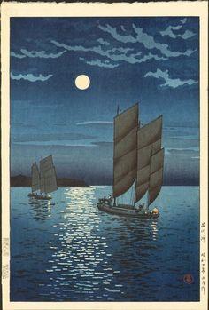 Tsuchiya Koitsu (1870 - 1949) Shinagawa Coast, 1935  Size: Oban, approximately 15.5 x 10.25 inches