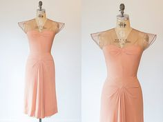 Vintage 1930s light rose pink crepe wiggle dress with nude mesh shoulders, sweetheart neck shape, pleating on front of bodice and back metal zipper