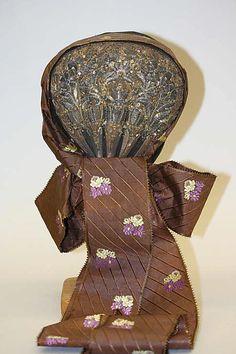 Bonnet, silk and metal thread, 1800-1943, Danish.