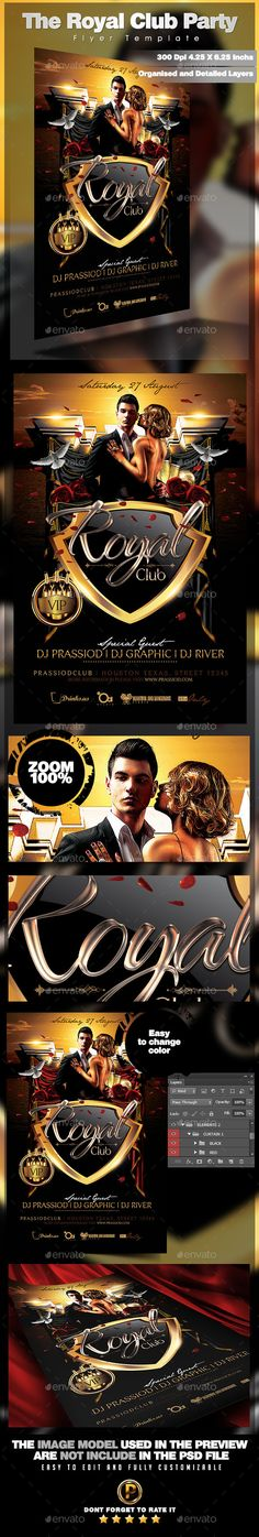 The Royal Club Party Flyer Template #design Download: http://graphicriver.net/item/the-royal-club-party-flyer-template/12280435?ref=ksioks